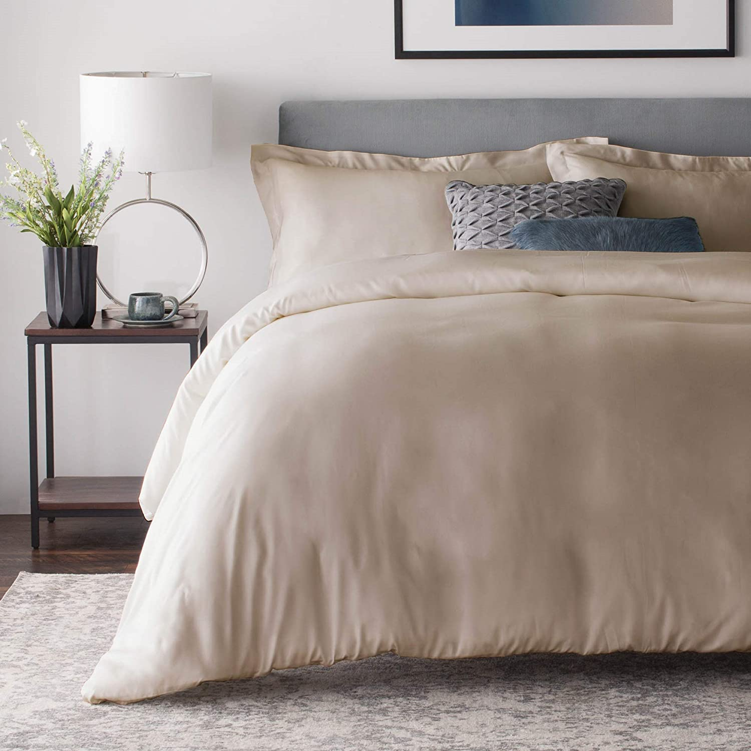 Amazon Com Malouf Ma25qqdrbd Rayon From Bamboo Set Best Fitting Duvet Cover 8 Corner And Side Loops Queen Driftwood Home Kitchen