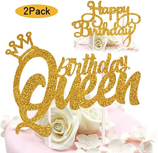 Amazon Com Queen Birthday Cake Topper Gold Glitter Happy Birthday Cake Topper Cake Toppers Birthday Party Decoration Kitchen Dining