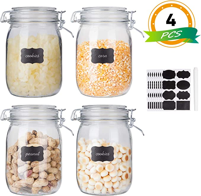 Glass Kitchen Storage Canister Mason Jars with Lids,32oz Airtight Glass Canister with Hinged Lid,Perfect for Kitchen Canning Cereal,Pasta,Sugar,Beans (Labels & Chalk Marker)-Set of 4