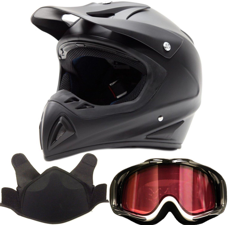 Adult Snocross Snowmobile Helmet & Goggle Combo - Matte Black