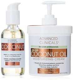 Advanced Clinicals Coconut Oil Body Cream and Coconut Body oil skin care set for men and women. Large 16oz cream for face and body and 4oz body oil helps with stretch marks, scars, and blemishes.