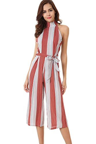 Velius Women Jumpsuit Sexy Sleeveless Halter High Waist Stripe Backless Wide Leg Pants Romper (Medium)