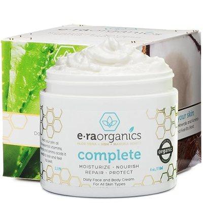 Natural Face Moisturizer Skin Cream - Advanced 10-In-1 Non Greasy Daily Facial Cream with Aloe Vera, Manuka Honey, Coconut Oil, Cocoa Butter and More For Oily, Dry, Sensitive Skin (4 oz)