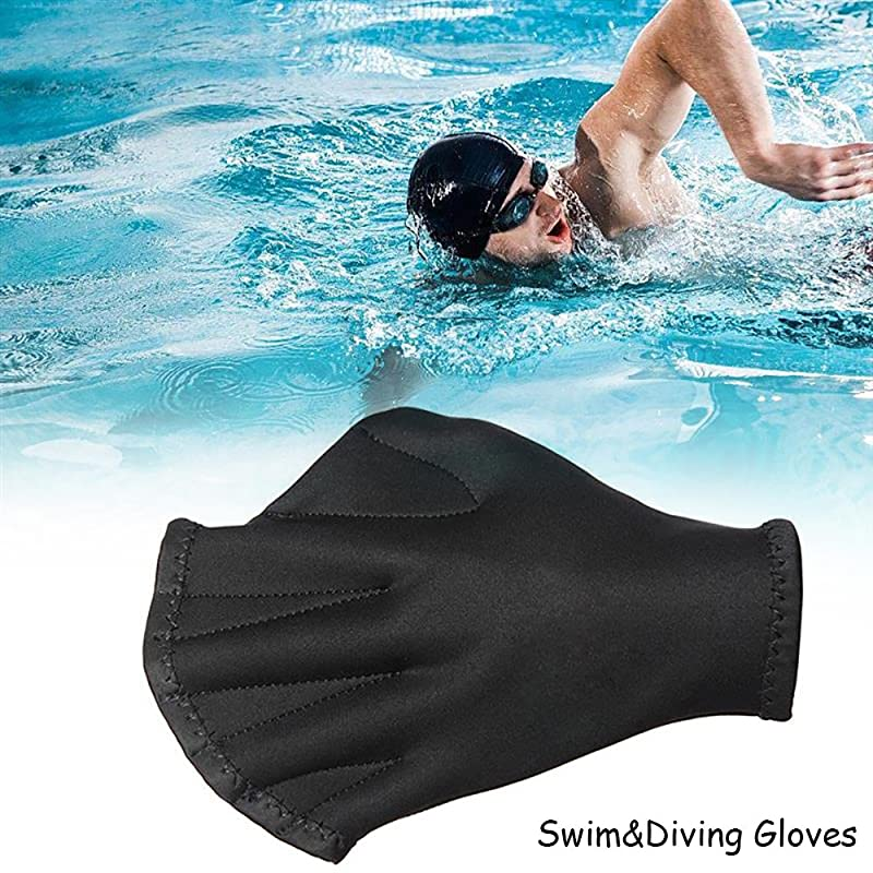 Happy Hours Swim Gloves, Training Aqua Fit Webbed Gloves For Men and Women Aquatic Fitness Water Resistance - Black