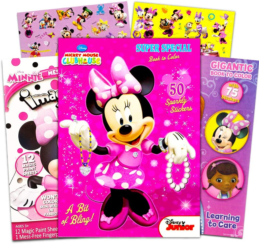 Amazon Com Disney Minnie Mouse Coloring Book Bundle 3 Pack Coloring Books With Stickers Minnie Mouse Party Supplies Pack Toys Games