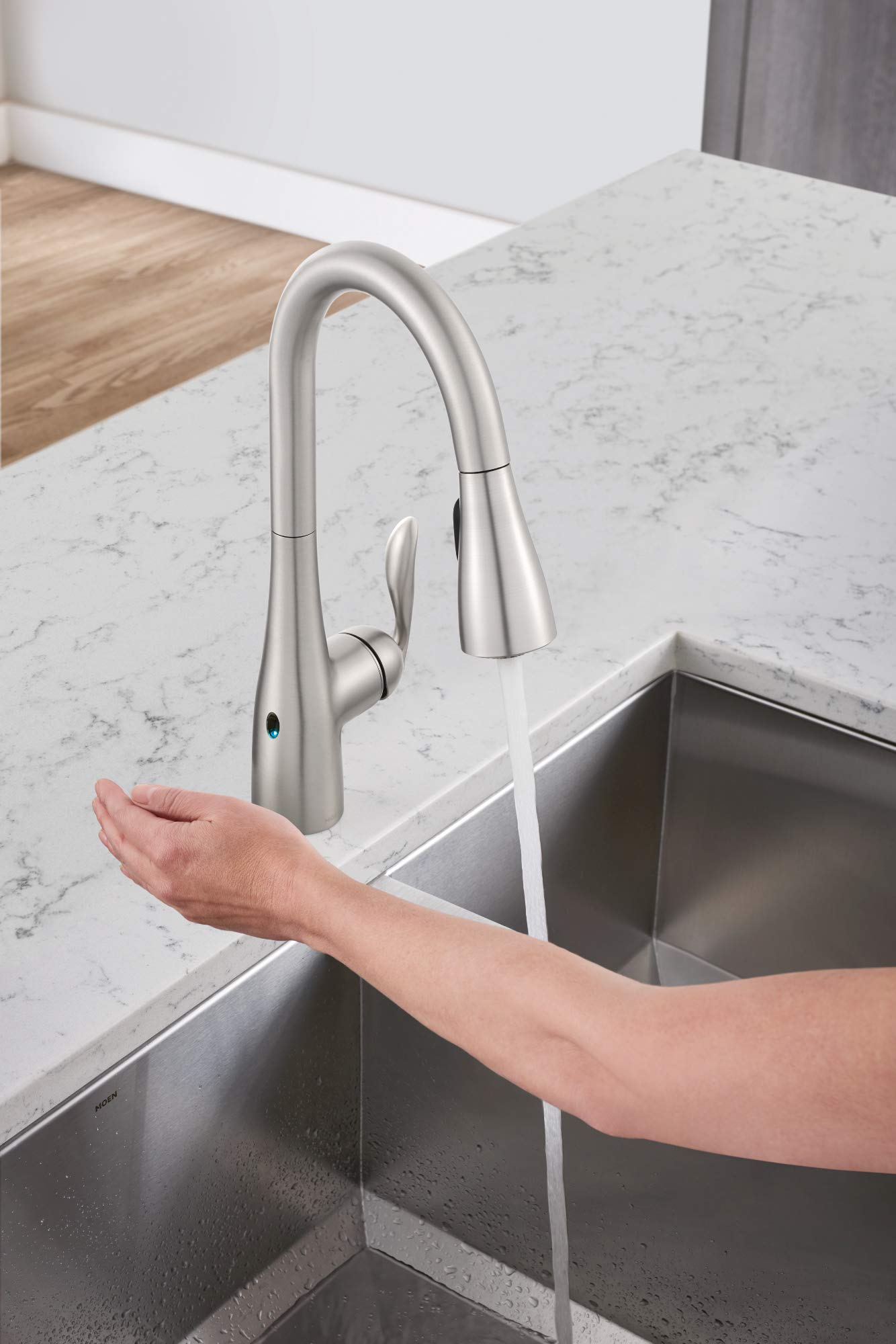 Moen Arbor Motionsense Wave Sensor Touchless One-Handle High Arc Pulldown  Kitchen Faucet Featuring Reflex