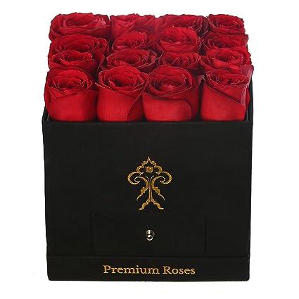 Amazon.com : Premium Roses| Real Roses That Last a Year | Fresh Flowers|  Roses in a Box (Black Box, Medium) : Grocery & Gourmet Food