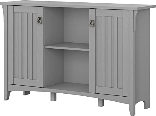 Bush Furniture Salinas Kitchen Pantry Cabinet With Doors In Cape Cod Gray Pantries Furniture