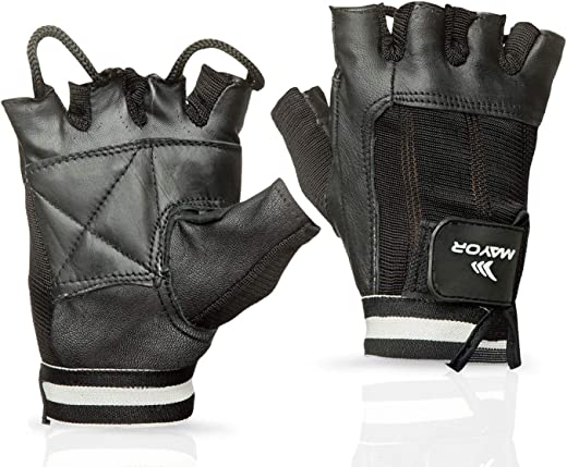 Leather Palm with Spandex MGG1008_M Plata Gym Gloves Black