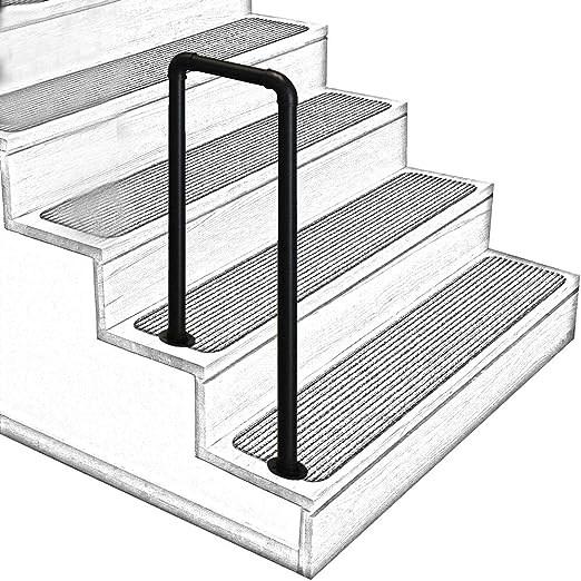 Amazon Com U Shaped Matt Black Non Slip Wrought Iron Stair | Black Outdoor Stair Railing | Interior Stair | Modern | Pipe | Composite Deck | 2 Step