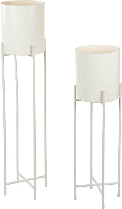 Amazon Com Plant Stand Set 2 Piece Modern Plastic Planter With Tall Metal Stand Decorative Standing Flower Succulent Pot Holder Indoor Outdoor Terrace Patio Home Decor White 29 3 And 23 Inches
