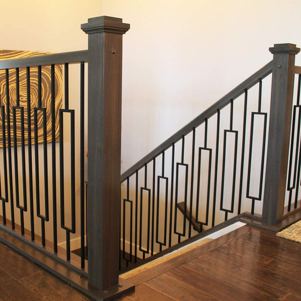 Contemporary Rectangle Stair Wrought Iron Balusters 10 Pack | Black Banister White Spindles | Black Railing | Wainscoting | White Painted Riser | Benjamin Moore Stair Railing | Baluster Curved Stylish Overview Stair