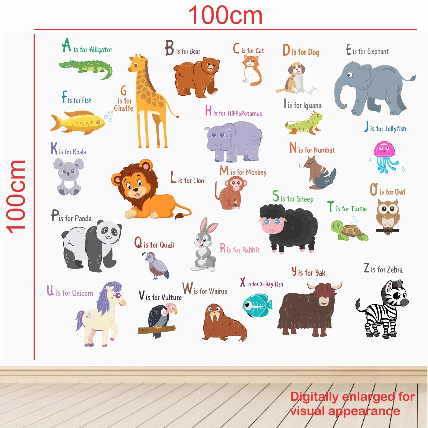 Buy Stickme Animal Alphabets Kids Learning Education Nursery Pre School Kinder Garden Wall Sticker For Baby Pvc Vinyl 100 X 100 Cm Multicolour Online At Low Prices In India Amazon In