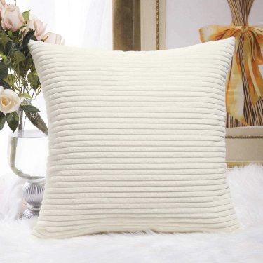 Home Brilliant Striped Velvet Throw Pillows