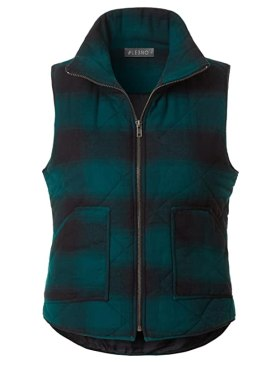 LE3NO Womens Lightweight Plaid Quilted Padded Puffer Sleeveless Vest With Pockets