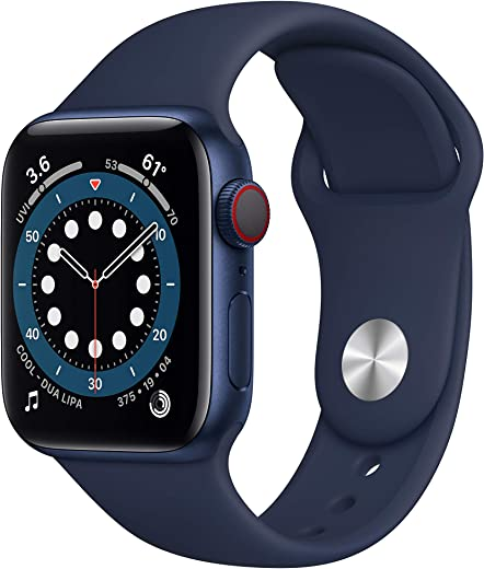 New AppleWatch Series 6 (GPS + Cellular, 40mm) - Blue Aluminum Case with Deep Navy Sport Band