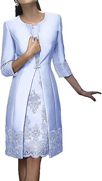 Shinegown Mother Of The Bride Dresses For Wedding Satin Knee Length Long Sleeves With Jacket Amazon Co Uk Clothing