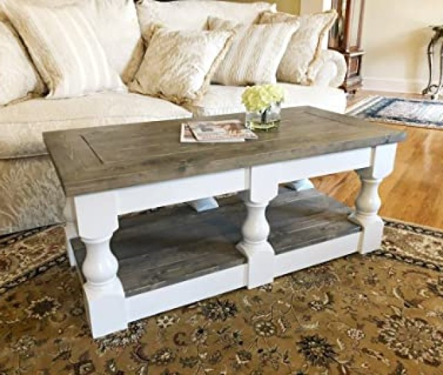 Rustic Wooden Farmhouse Coffee Table By Mountain Creek Woodworks Classic Gray