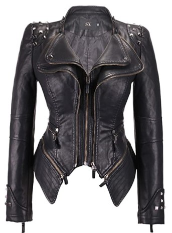 Chouyatou Women's Fashion Studded Perfectly Shaping Faux Leather Biker Jacket (Medium, Black)