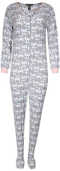 Rene Rofe Ladies Sleepwear One-Piece Footed Onesie Pajama, Heather Grey/Cat, Large