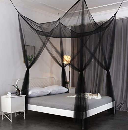 Amazon Com Octorose 4 Poster Bed Canopy Netting Functional Mosquito Net Full Queen King Black Baby