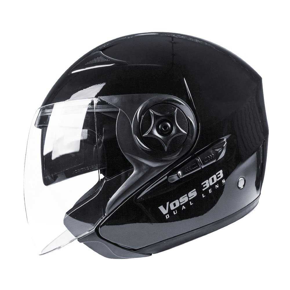Voss 303 Dual Lens Cruiser DOT Three Quarter/Open Face Helmet with Integrated Sun Lens and Quick Release System