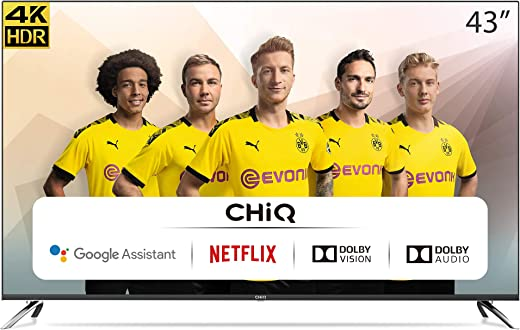 CHiQ U43H7A, 43 Pouces(108cm), Android 9.0,Smart TV, UHD, 4K, WiFi, Bluetooth, Google Play Store, Google Assistant, Chromecast bulit-in, Netflix, Video, Youtube,HDMI,USB