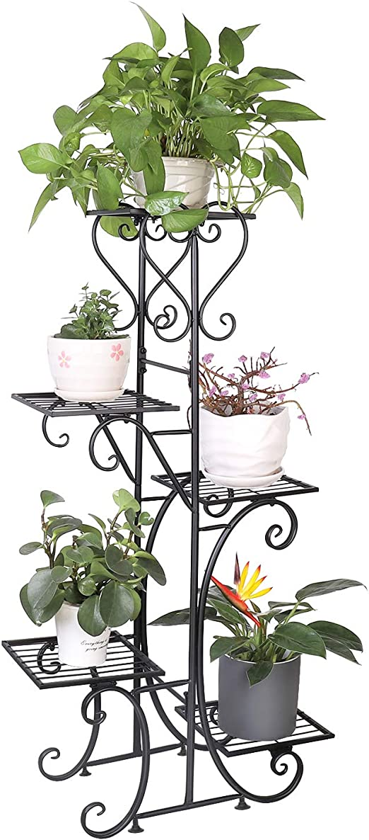 Unho 5 Tiered Plant Stand Metal Flower Pot Display Stand Ladder Planter Indoor Outdoor Plant Shelves For Home Patio Office Garden Black 22 4 X 42 Amazon Co Uk Garden Outdoors