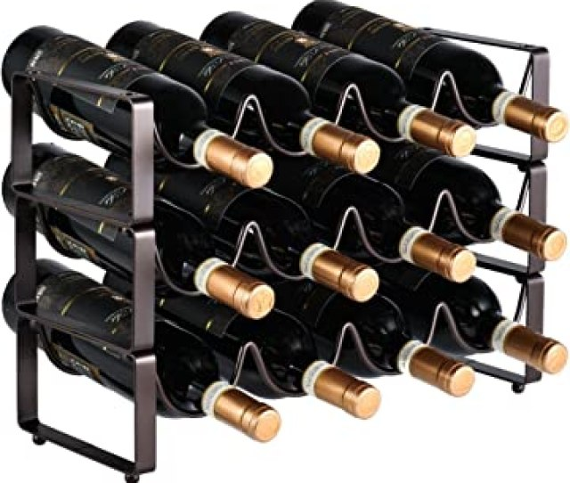 Gongshi 3 Tier Stackable Wine Rack Countertop Cabinet Wine Holder Storage Stand Hold 12