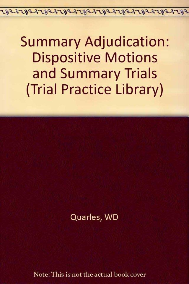 Buy Summary Adjudication – Dispositive Motions & Summary Trials