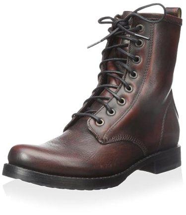 FRYE Women's Veronica Combat Boot Dark Brown 8.5 M US