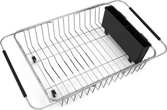 iPEGTOP Expandable Dish Drying Rack, Over the Sink Dish Rack, In Sink Or On Counter Dish Drainer with Black Utensil Holder Cutlery Tray, Rustproof Stainless Steel for Kitchen
