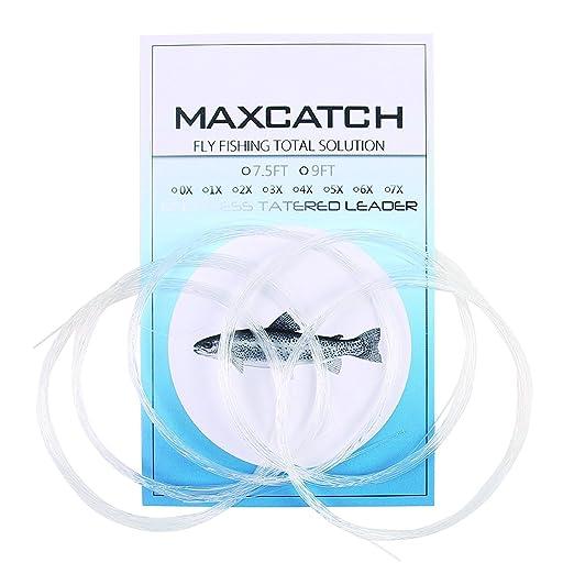Maxcatch 5枚1パックフライリーダテーパードリーダー 9ft &7.5ft, (0X-7X) セット (9ft, 5x)