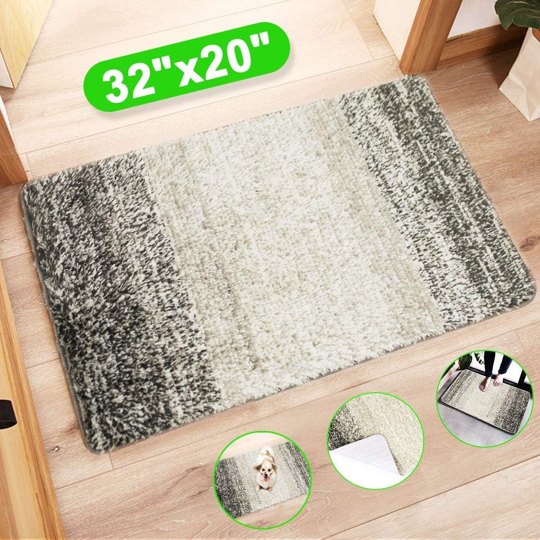 Amazon Com Indoor Doormat Front Door Mat Super Absorbent Entrance Door Rug Non Slip Back Door Mats Indoor Soft Entry Rugs Inside Machine Washable Door Carpet For Entryway 32 X20 Grey Gray Home Kitchen