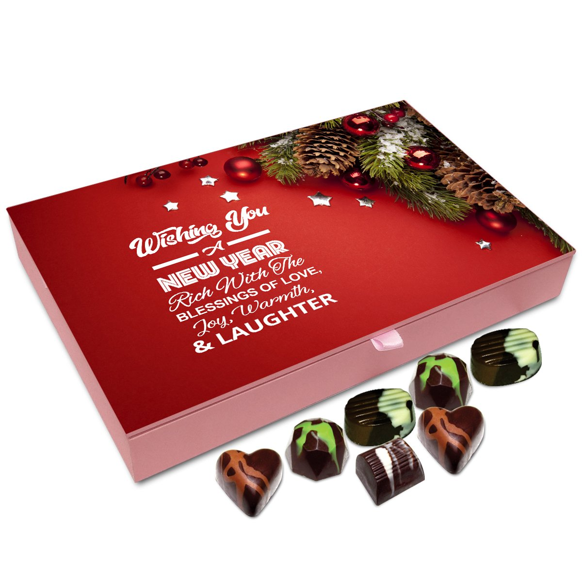 Chocholik New Year Chocolate Box – Wish You New Year Rich with Blessings Chocolate Box – 12pc
