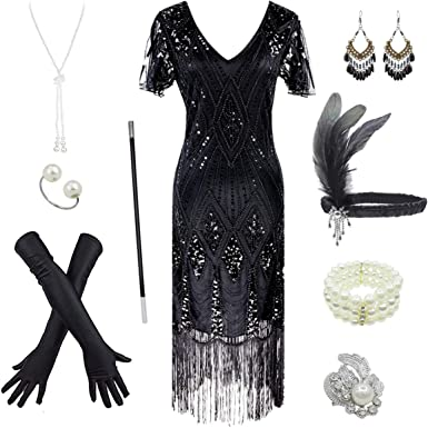 Amazon.com: Women's 1920s Gatsby Inspired Sequin Beads Long Fringe ...
