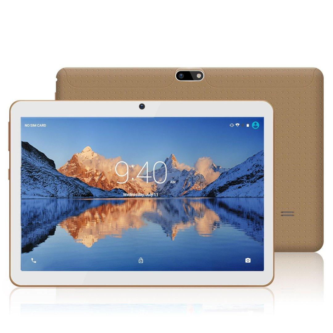 YOTOPT 10.1 Pouces Tablette Tactile - 3G/WiFi, Android 7.0 , Quad Core, 16 Go, 2 Go de RAM, Doule SIM, Bluetooth, GPS, OTG - Or