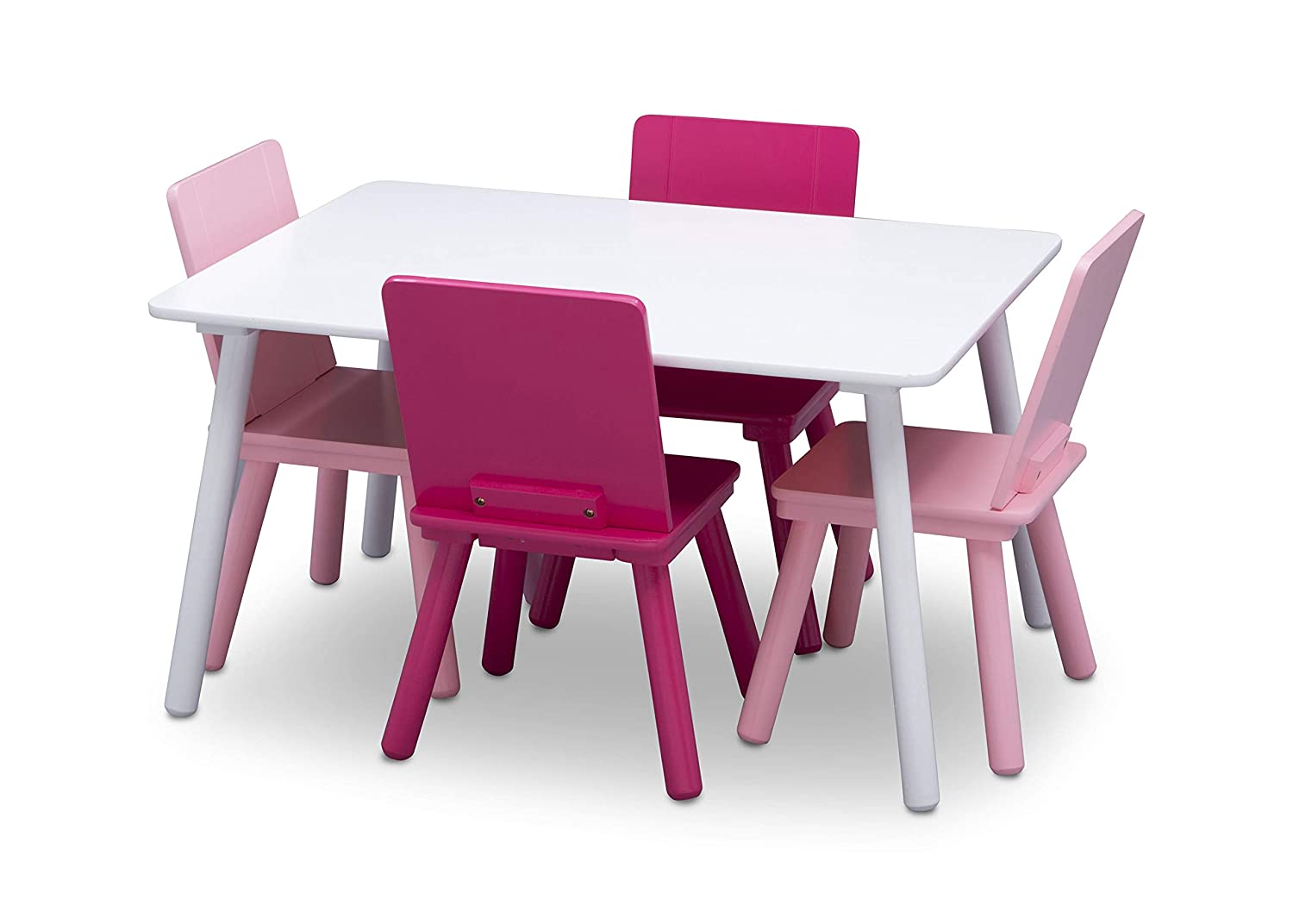 Amazon Com Delta Children Kids Table And Chair Set 4 Chairs Included Ideal For Arts Crafts Snack Time Homeschooling Homework More White Pink Baby
