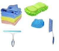 Winberg Car Cleaning Combo Pack Microfiber Cloth Towel Pack of 3 Carpet Brush Washing Scurb Glass Wiper Microfibre Gloves