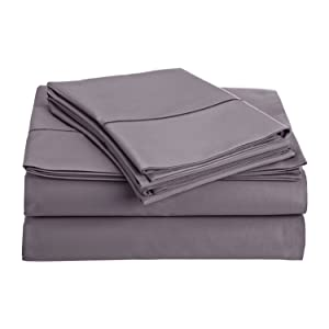 Thread Spread True Luxury 100% Egyptian Cotton - Genuine 1000 Thread Count 4 Piece Sheet Sets - Fits Mattress Upto 18' Deep Pocket (King, Plum)