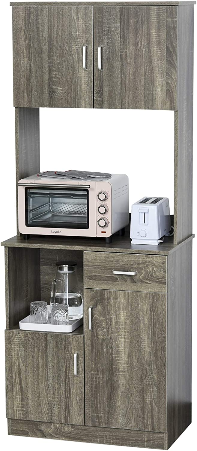 Amazon Com Homcom Modern Kitchen Buffet With Hutch Pantry Storage Microwave Counter 2 Cabinets And Adjustable Shelves Grey Furniture Decor