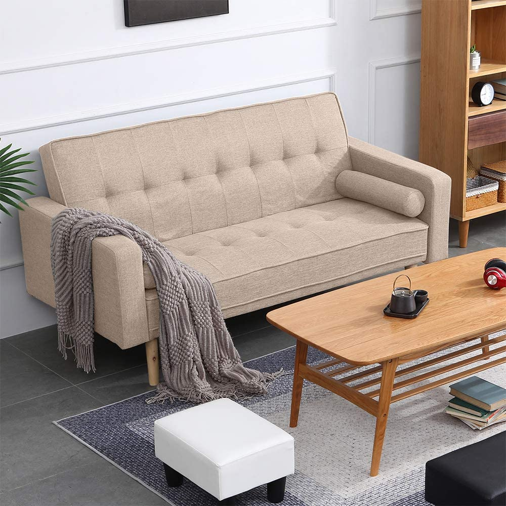 Ansley Hosho Eu Fabric Sofa Bed 3 Seater Couch Simple Modern Space Saving Sofa Bed For Home Office Living Room Reception Room Brown Amazon Co Uk Kitchen Home