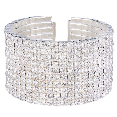 Image result for EleQueen Women's Silver-tone Austian Crystal Open End Wide Elegant Party Cuff Bangle Bracelet Clear