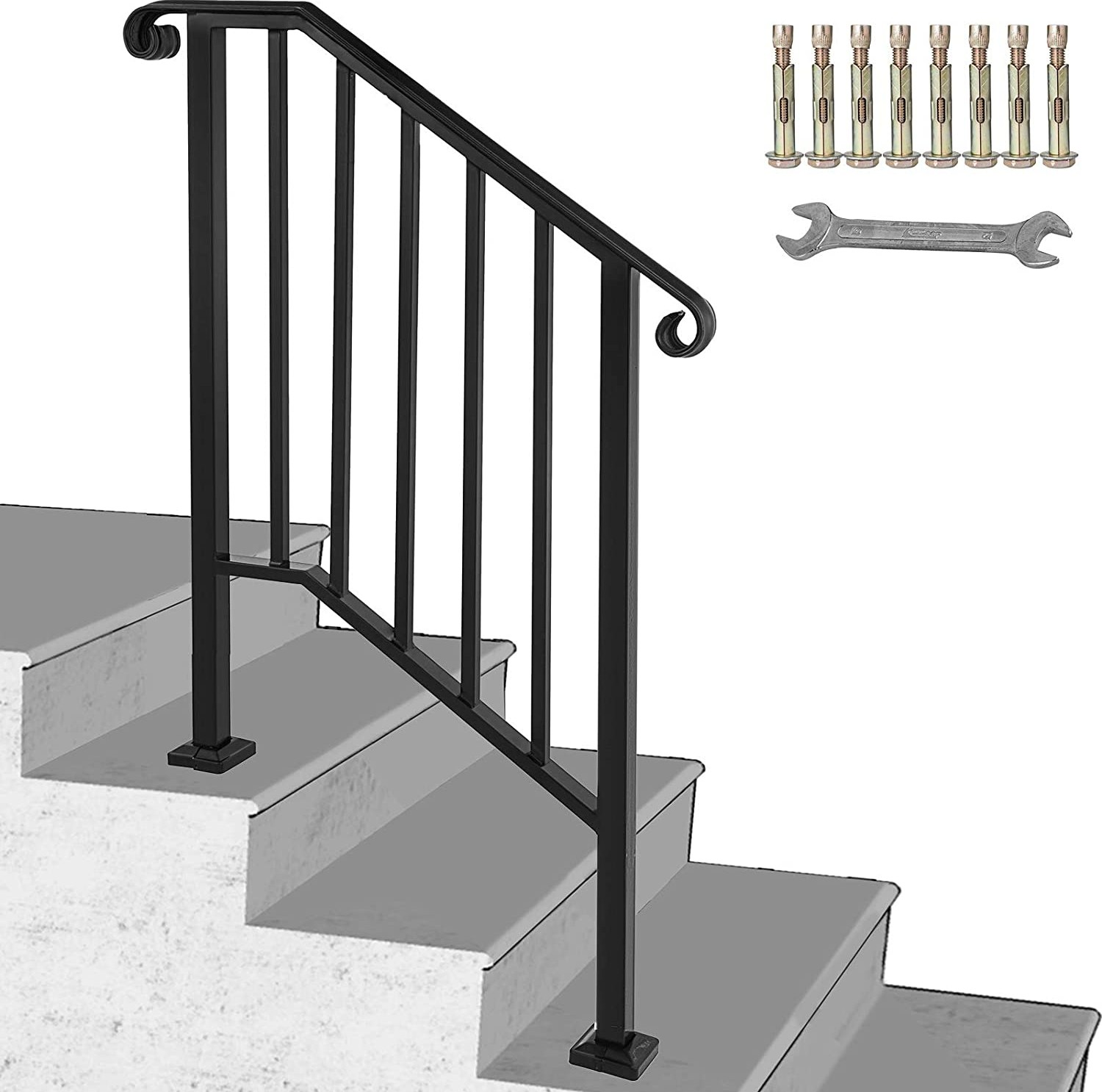 Happybuy Handrail Picket 2 Fits 2 Or 3 Steps Matte Black Stair | Iron Handrails For Outdoor Steps | Deck | Simple | Outside | Free Standing | Galvanized Iron