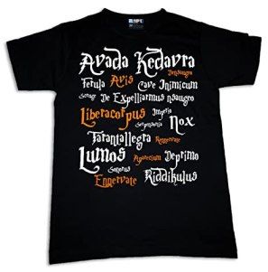 Harry Potter Spells Womens T-shirt Movie Fun Magic Nerdy Geek Sorcerer (S)