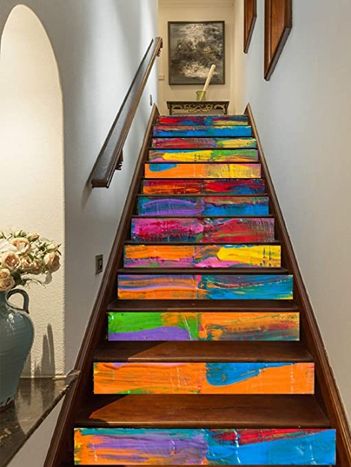 Amazon Com Flfk 3D Colorful Art Oil Painting Self Adhesive Stairs | Wall Painting Designs For Staircase | Side Wall | Upstairs | Art Staircase | Boy | Creative