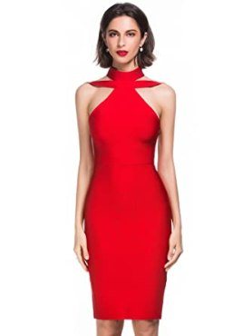 Alice & Elmer Women's Rayon Halter Cut Out Party Bodycon Bandage Dress Red L