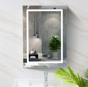 Wisfor Bathroom LED Lighted Mirror with Shaver Socket