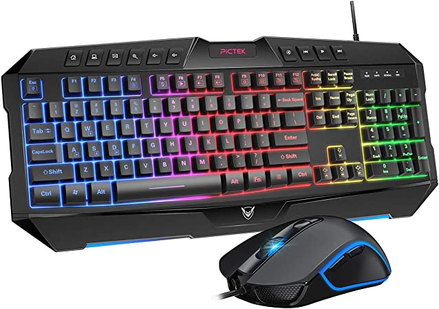 Amazon Com Pictek Backlit Keyboard And Mouse Combo Led Wired Gaming Keyboard Ergonomic Keyboard Wrist Rest Keyboard With Efficient Multimedia Keys Programmable Gaming Mouse For Mac Pc Sega Game Gear Games Computers