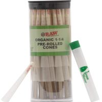 Raw Pre-Rolled Cones Organic 1 1/4: Hemp Rolling Papers with Filters - Slow Burning Raw Cone Made from Hemp - Includes Green Blazer Doob Tube